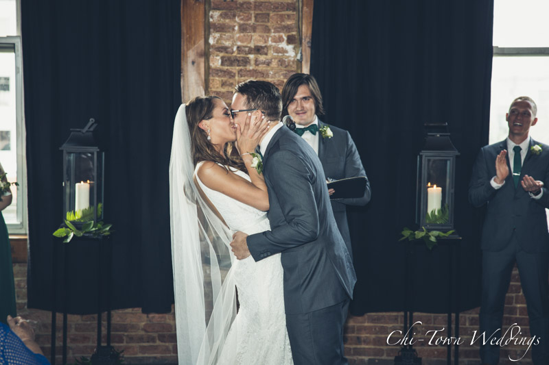 www.Chi-Town-Weddings.com Bride and groom 1st kiss