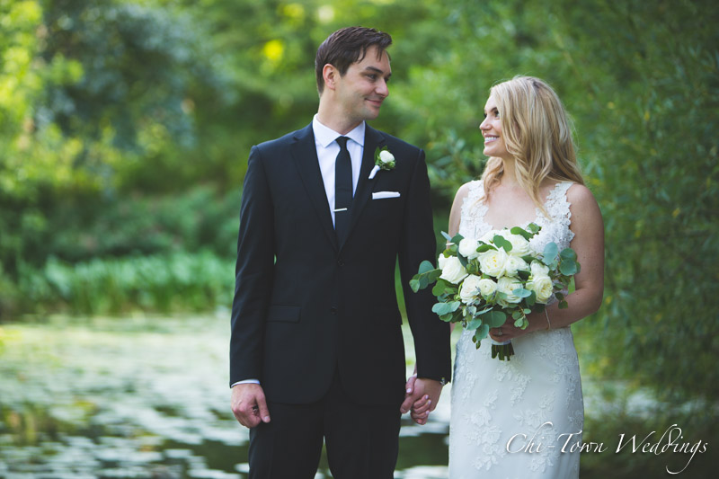 www.Chi-Town-Weddings.com Bride and Groom Chicago Lilly Pond