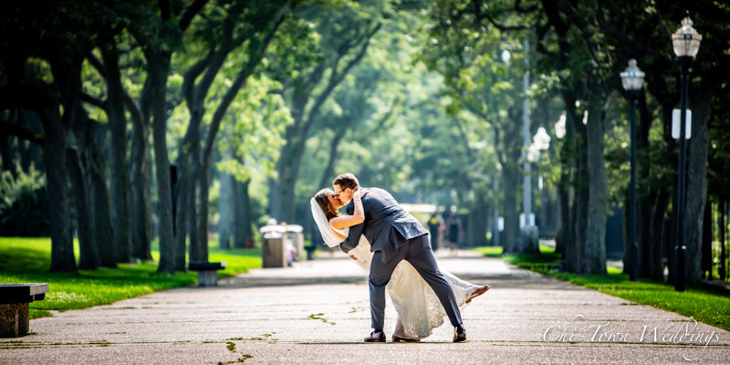 www.Chi-Town-Weddings.com  Groom dipping bride olive park Chicago