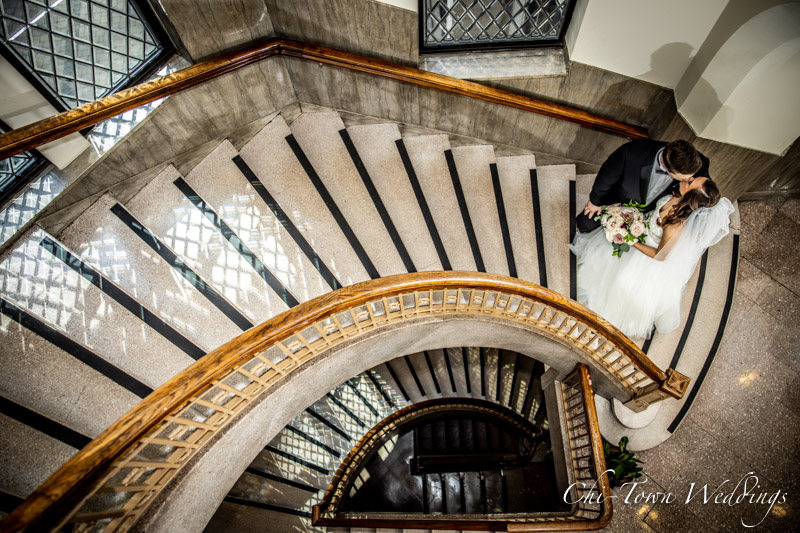 www.Chi-Town-Weddings.com Bride and Groom on stairs