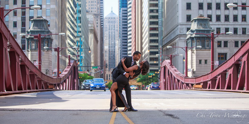 Bride and Groom at Chicago Lasalle Street Bridge